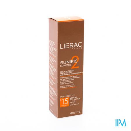 Afbeelding Lierac Sunific Smeltzachte Zonnecrème SPF 15 voor Gelaat tegen Rimpels en Bruine Vlekken 50 ml.