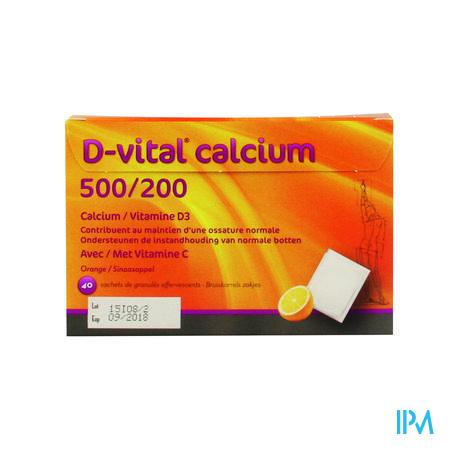 Afbeelding D Vital 500 mg Calcium en 200 IE Vitamine D3 Bruisgranulaat met Sinaasappelsmaak 40 Zakjes.