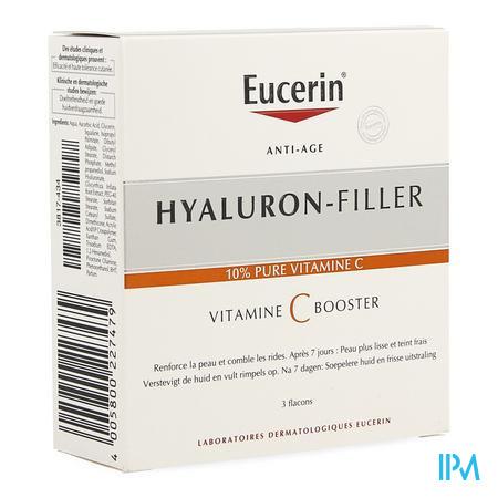 Afbeelding Eucerin Hyaluron-Filler Vitamine C Booster met 10% Pure Vitamine C voor Versteviging van de Huid en Opvulling van Rimpels Flacon 3 x 8 ml.