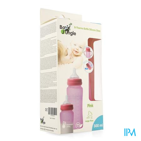 B-thermo Glass Bottle 300ml Pink