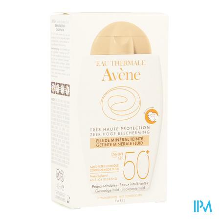 Afbeelding Avène Waterbestendige Getinte Minerale Zonnefluide met SPF 50+ zonder Parfum Tube 40 ml.