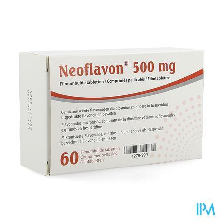 Afbeelding Neoflavon 500 mg -met Gemicroniseerde Flavonoïden die Diosmine en andere in Hesperidine Uitgedrukte Flavonoïden bevatten- 60 Tabletten.