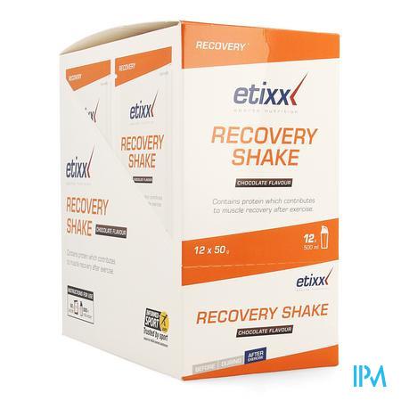 Afbeelding Etixx Recovery Shake met Chocoladesmaak Zakjes 12 x 50 g.