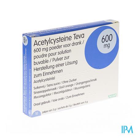 Acetylcysteïne Teva 600mg 10 zakjes