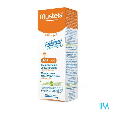 Mustela Baby Zon Minerale Creme F50+ Gevoelige Zones 15ml