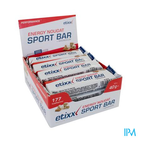 Afbeelding Etixx Energy Nougat Sport Bar met Magnesium 12 x 40g.