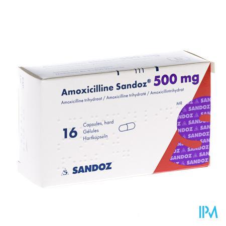 Amoxicilline Sandoz 500mg Caps 16
