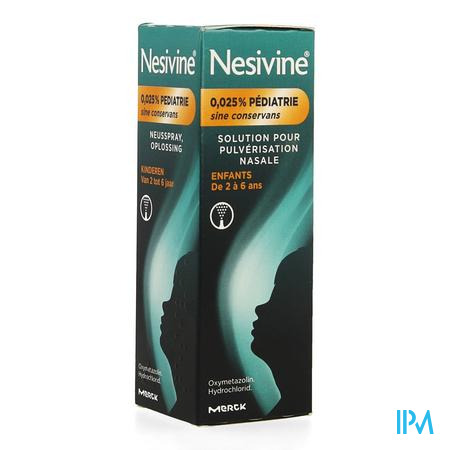 Afbeelding Nesivine Pediatrie 0,025% Sine Conservans Spray 10 ml.