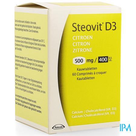 Afbeelding Steovit D3 500 mg Calcium + 400 IE Vitamine D3 met Citroensmaak 60 Kauwtabletten.