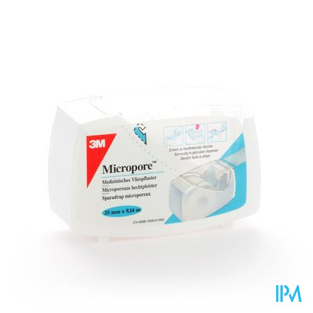 3M Micropore Dispenser 2.5cm x 9.14m 1 pièce