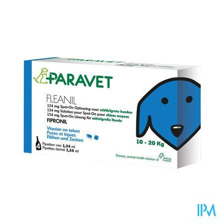 Paravet Fleanil Spot-On Pipette Puces et tiques pour Chiens de 10 à 20 kg 4 piéces