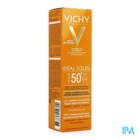 Afbeelding Vichy Ideal Soleil 3-in-1 Getinte Zonnecrème tegen Pigmentvlekken met SPF 50+ Tube 50 ml.
