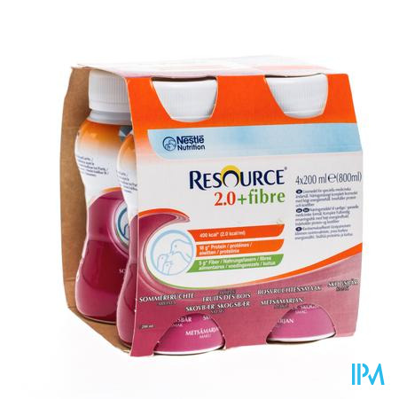Resource 2.0 Fibre Bosvruchten 4x200ml 12100791