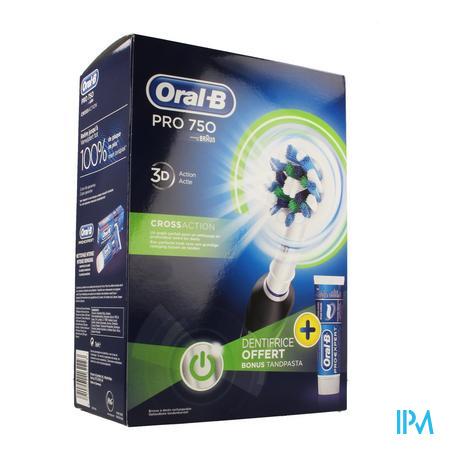 Afbeelding Oral B Elektrische Tandenborstel Pro 750 Crossaction met 3D Technologie + Gratis Tandpasta.