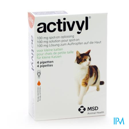 Activyl Spot-on Opl. Kleine Katten Pipet 4x100mg
