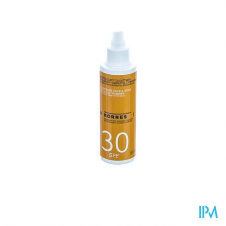 Afbeelding Korres Zonne-Emulsie SPF 30 met Yoghurt voor Gelaat en Lichaam Spray 150 ml.