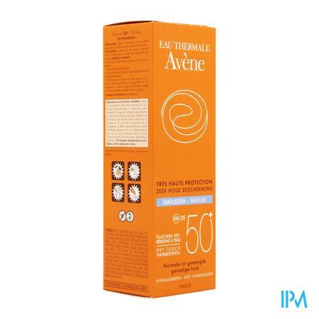 Afbeelding Avène Waterproof Dry Touch Zonne-Emulsie met SPF 50+ voor Normale tot Gemengde Huid Tube 50 ml.