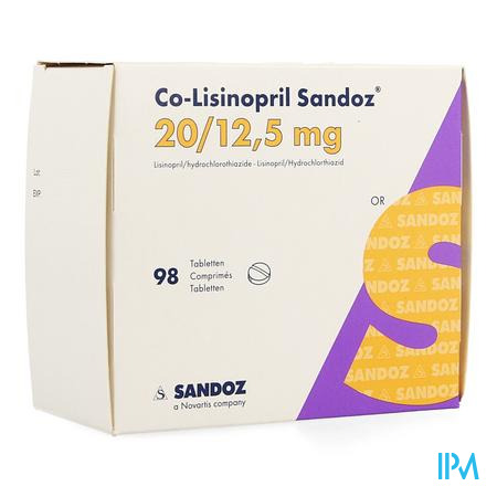 Co Lisinopril Sandoz 20mg/12,5mg Sandoz Comp 98