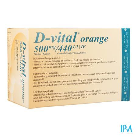 Afbeelding D Vital 500 mg Calcium en 440 IE Vitamine D3 Bruisgranulaat met Sinaasappelsmaak 30 Zakjes.