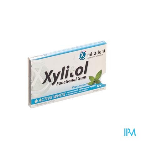 Miradent Kauwgom Xylitol Active White 12 stuks
