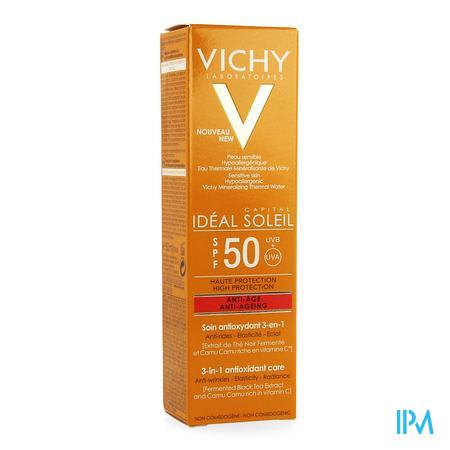 Afbeelding Vichy Idéal Soleil 3-in-1 Anti-Oxidante Anti-Ageing Zonnecrème met SPF 50 voor Gelaat Tube 50 ml.
