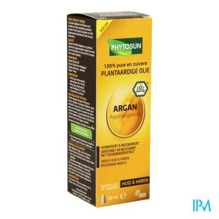 Afbeelding Phytosun Argan Plantaardige Olie voor Huid en Haren en Breekbare Nagels Pompje 50 ml.