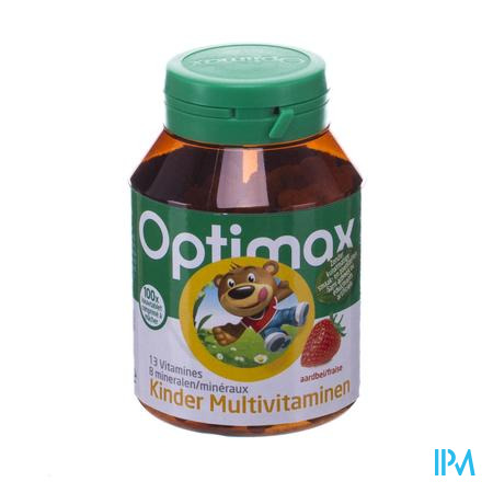 Optimax Multivitaminen+ Kind Aardbei 100 tabletten