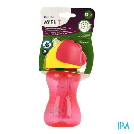 Afbeelding Avent Drinkbeker met Gebogen Rietje voor Meisjes vanaf 12 Maanden in Roze 300 ml.