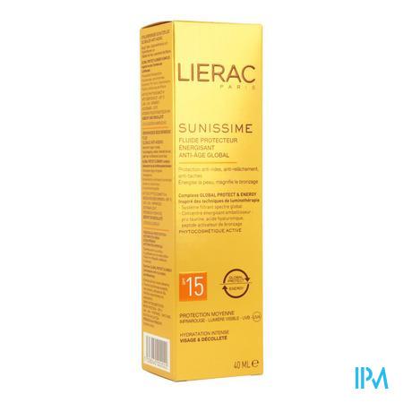 Afbeelding Lierac Sunissime Verkwikkende Zonnefluide SPF 15 met Globale Anti-Ageing voor Gelaat en Decolleté 40 ml.