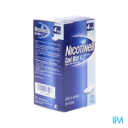 NICOTINELL COOL MINT 4 MG 96 GOMMES À MÂCHER       (médicament)