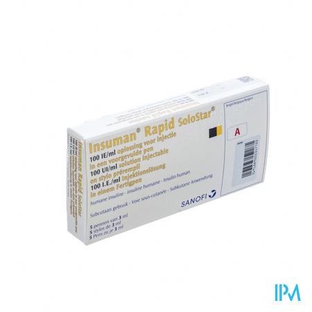 Insuman Rapid Solostar 100 Iu/ml 5 Voorgevulde Pen