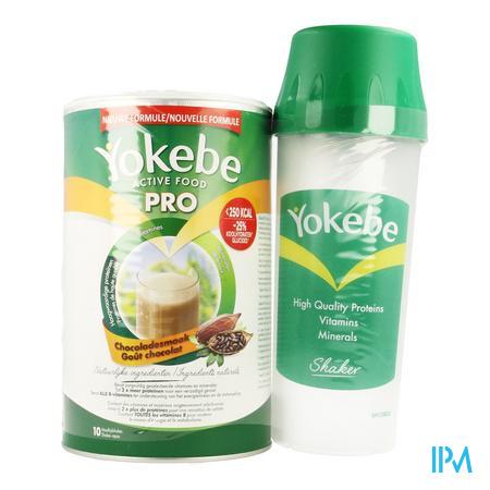 Afbeelding Yokebe Active Food Pro met Chocoladesmaak Pot 400 g met Shaker.