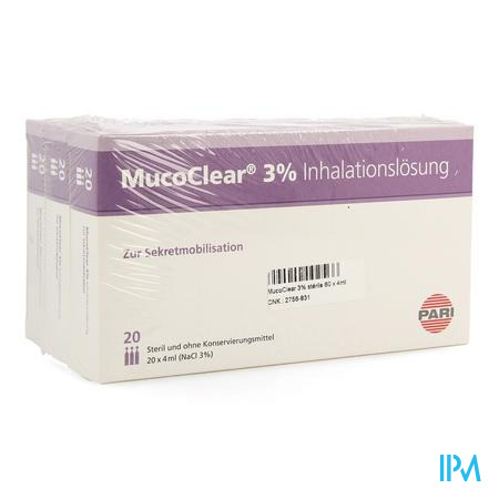 Mucoclear 3% Nacl Ampoule 60x4 ml  -  Henrotech