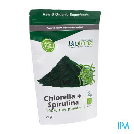 Biotona Bio Chlorella + Spirulina Raw Poeder 200 g