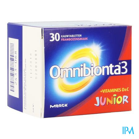 Afbeelding Omnibionta 3 Junior Vitamines en Mineralen met Frambozensmaak 30 Tabletten.