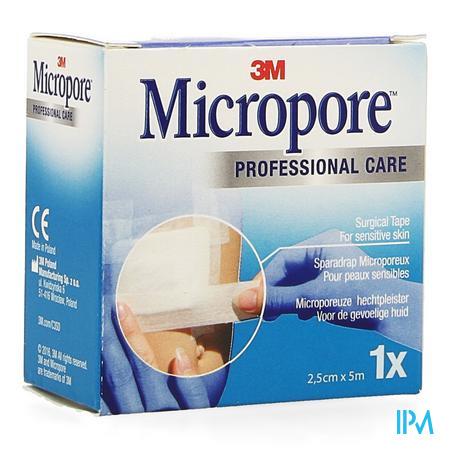 Afbeelding Micropore Medische Hechtpleister Wit Navulling voor de Gevoelige Huid 2,5 cm x 5 m.