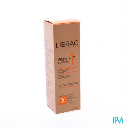 Afbeelding Lierac Sunific Satijnzachte Droge Zonne-Olie SPF 30 voor Lichaam 125 ml.