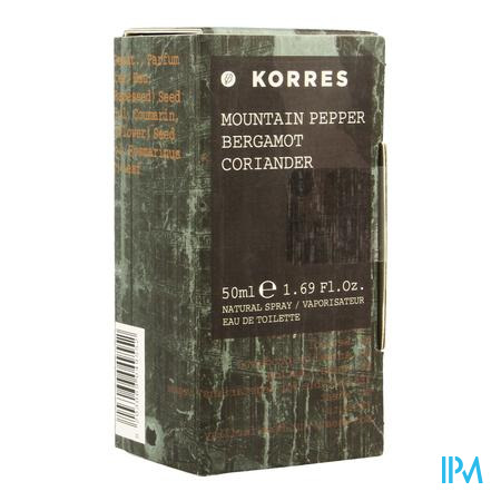 Afbeelding Korres Eau de Toilette voor Mannen met Mountain Pepper, Bergamot en Coriander Spray 50 ml.
