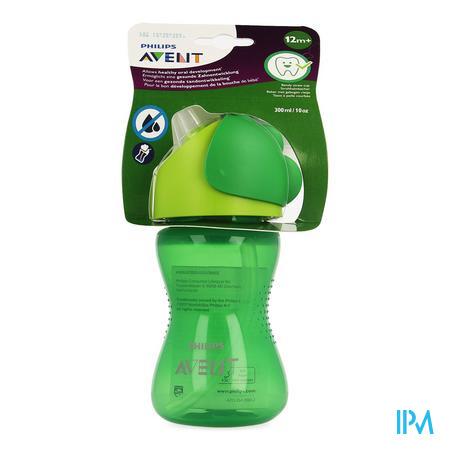 Afbeelding Avent Drinkbeker met Gebogen Rietje voor Jongens vanaf 12 Maanden in Groen 300 ml.