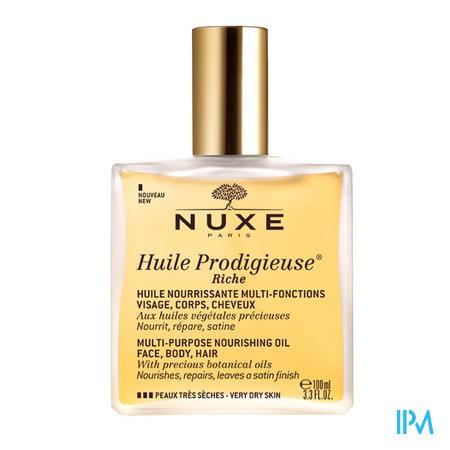 Afbeelding Nuxe Huile Prodigieuse Riche Multifunctionele Voedende Olie voor Gelaat, Lichaam en Haar voor Zeer Droge Huid 100 ml.