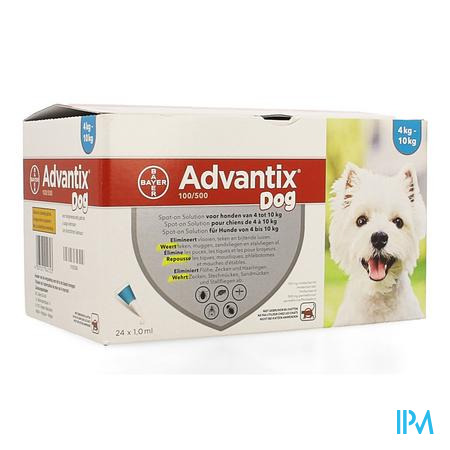Advantix 100/ 500 Honden 4<10kg Fl 24x1,0ml