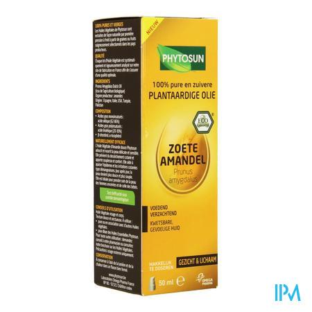Afbeelding Phytosun Zoete Amandel Plantaardige Olie Voedend en Verzachtend voor Kwetsbare, Gevoelige Huid Pompje 50 ml.