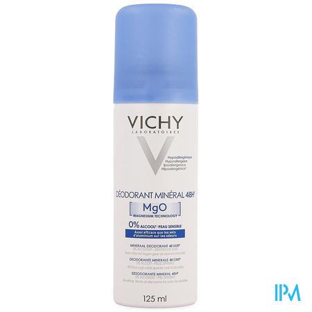 Afbeelding Vichy Mineraal Deodorant Aerosol voor 48 Uur Frisheid en tegen Geurtjes zonder Aluminiumzouten, zonder Alcohol en zonder Parabenen 125 ml.