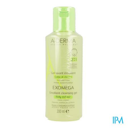 Afbeelding Aderma Exomega 2 in 1 Emolliërende Reinigingsgel voor Lichaam en Haar vanaf de Geboorte voor Huid met Neiging tot Atopie 200 ml.