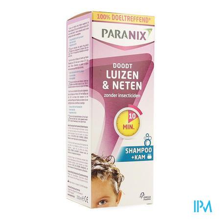Afbeelding Paranix Shampoo mét Kam tegen Luizen en Neten zonder Insecticiden 200 ml.