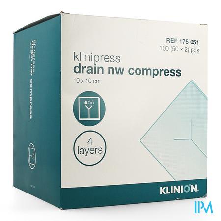 Klinion Nw Draincompres 10x10cm 4lagen 175051 50x2