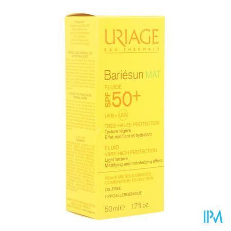 Afbeelding Uriage Bariésun Mat Olievrije Zonnefluide SPF 50+ voor Gemengde tot Vette Huid 50 ml.