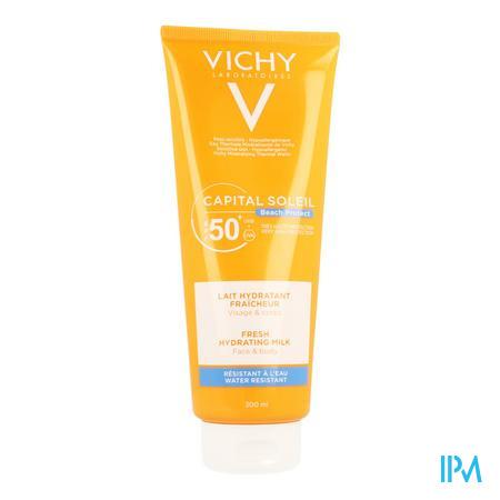 Afbeelding Vichy Ideal Soleil Frisse Hydraterende Zonnemelk met SPF 50+ voor Gelaat en Lichaam 300 ml.