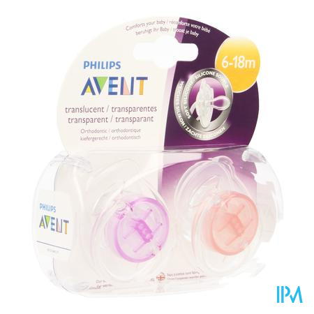 Afbeelding Avent Fopspenen Transparant Silicone +6 m .