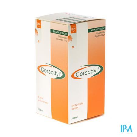 Corsodyl 2 mg/ml Oplossing Mondwater 200 ml